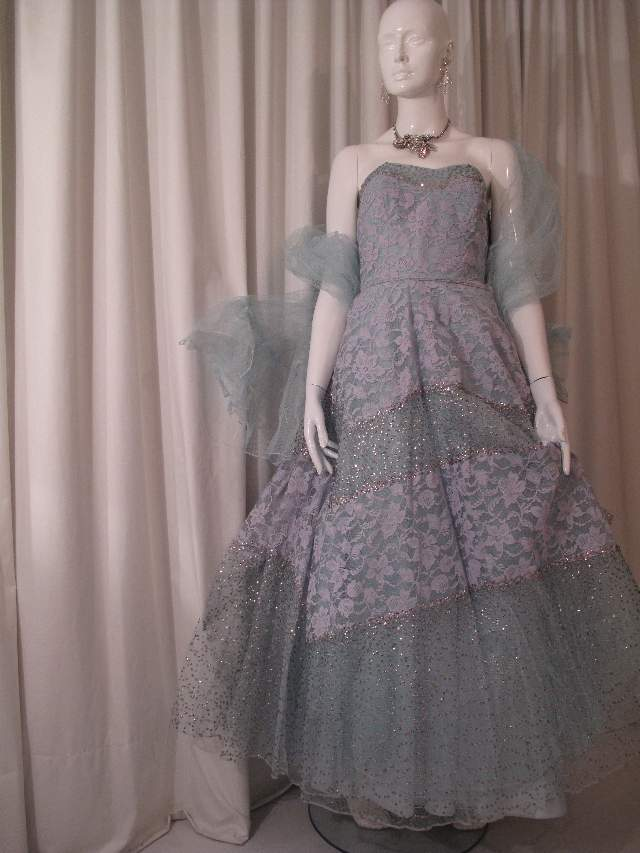 1950 S Duck Egg Blue Lace Sequinned Vintage Ball Gown Sold